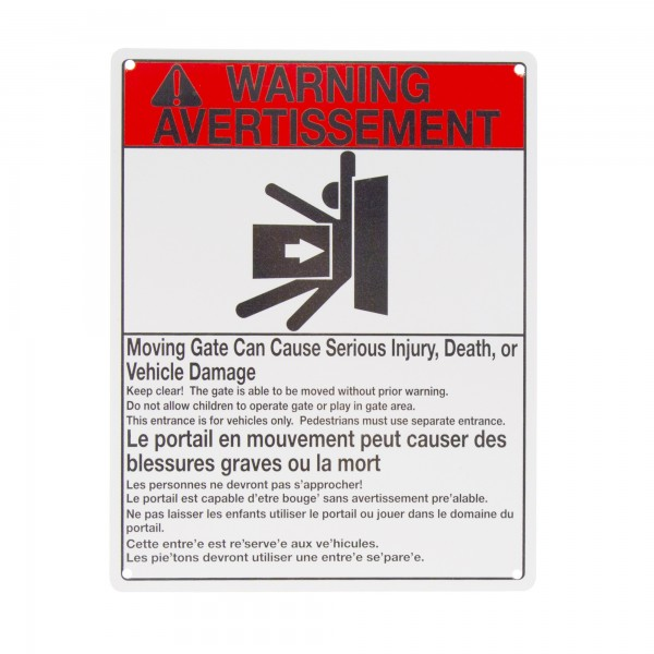 Gate Opener Warning Sign - Aluminum Gate Warning Sign - 8.5 in. X 11 in.